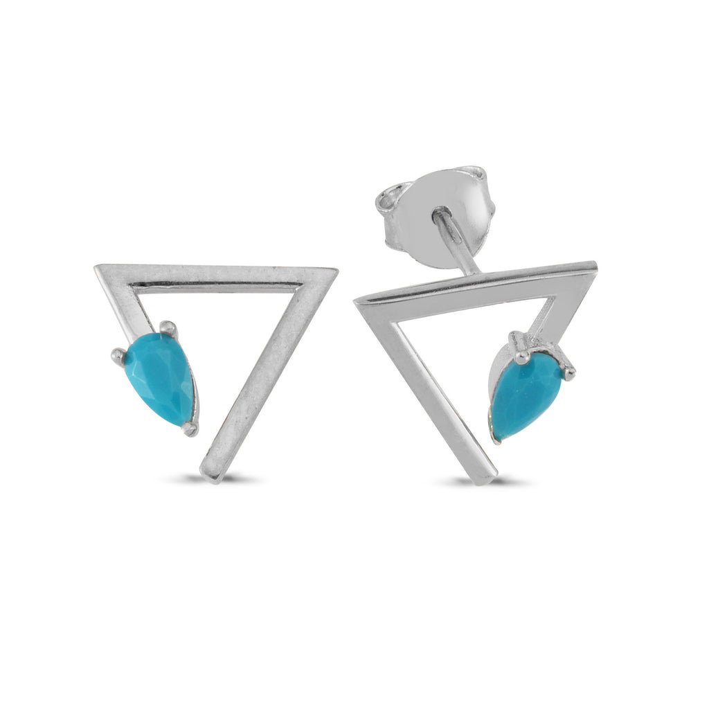 Drop Turquoise Triangle Stud Earring Wholesale Fashionable 925 Sterling Silver  Turkish Jewelry