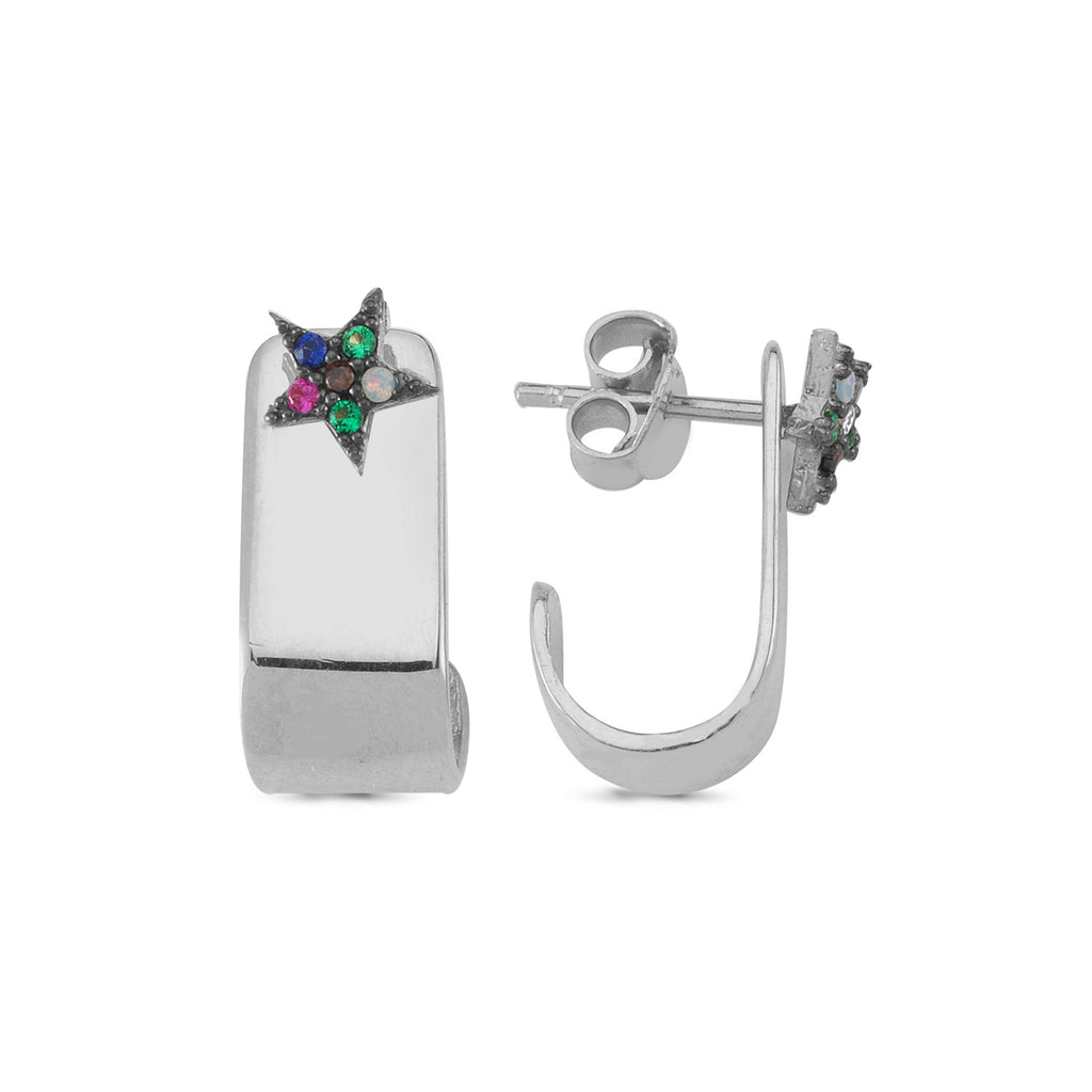 Colorful Star Trendy Hook Earring 925 Crt Sterling Silver Wholesale  Turkish Jewelry