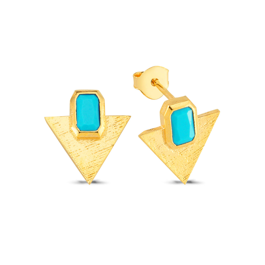 Turquoise Triangle Stud Earring Wholesale 925 Sterling Silver  Fashionable Turkish Jewelry