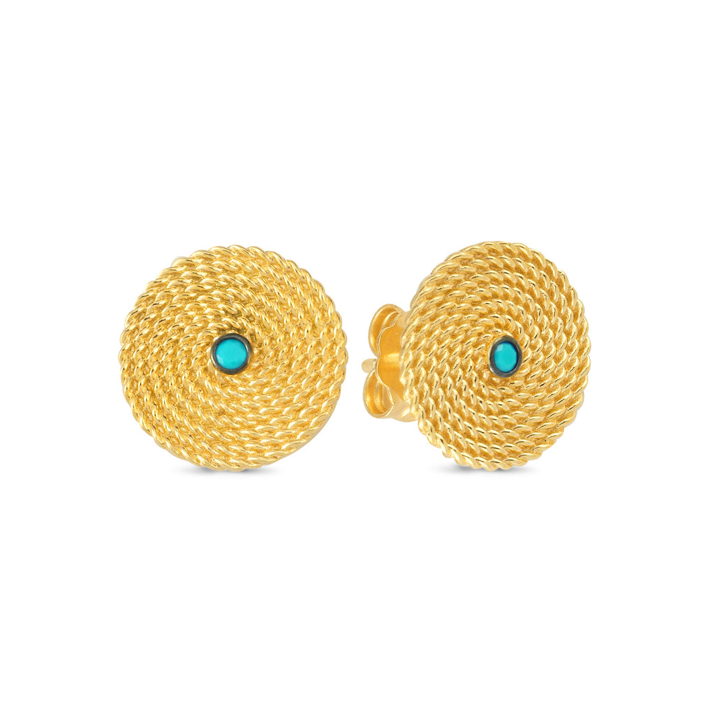 Turquoise Ethnic Twisted Stud Earring Wholesale 925 Sterling Silver    Fashionable Turkish Jewelry