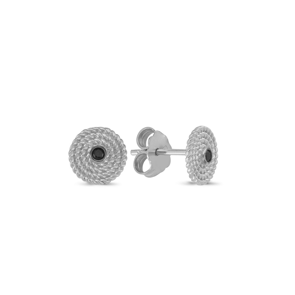 Black Zirconia Twisted Round Stud Earring Wholesale 925 Sterling Silver   Fashionable Turkish Jewelry