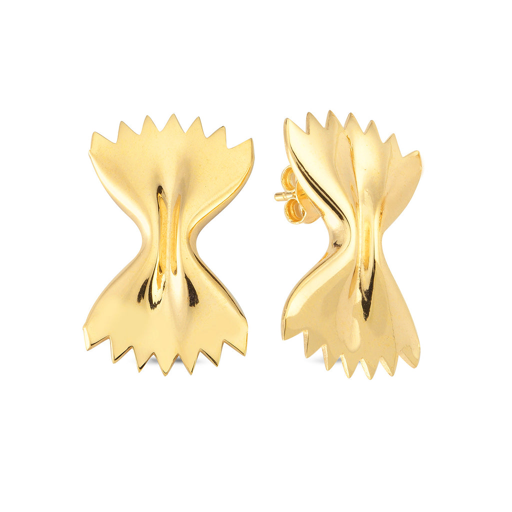 Bowtie Pasta Stud Earring Wholesale Fashionable 925 Sterling Silver   Turkish Jewelry