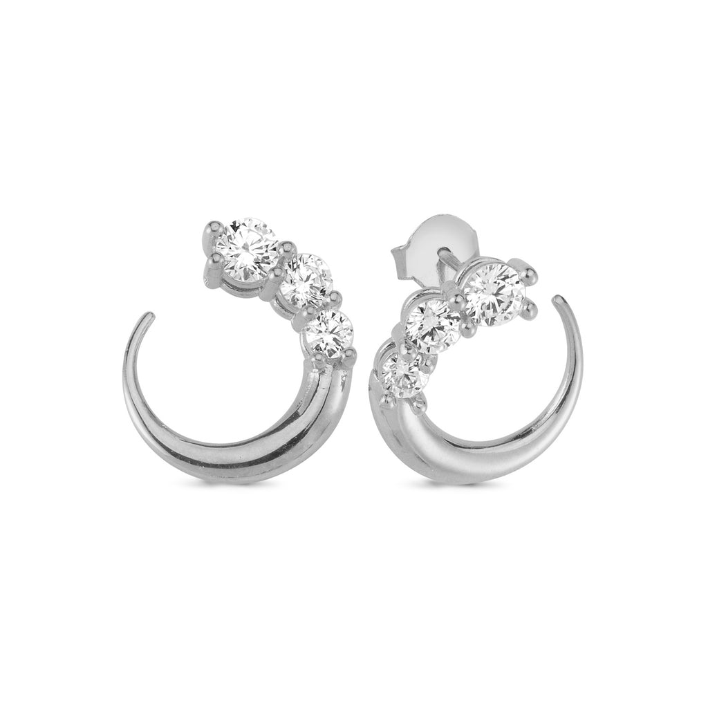 Three Zirconia Horn Stud Earring Wholesale 925 Sterling Silver  Fashionable Turkish Jewelry
