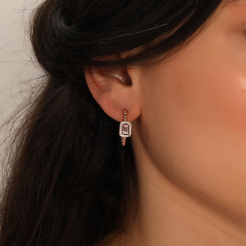 Baguette And Mini Balls Hoop Earring Wholesale 925 Sterling Silver   Turkish Jewelry