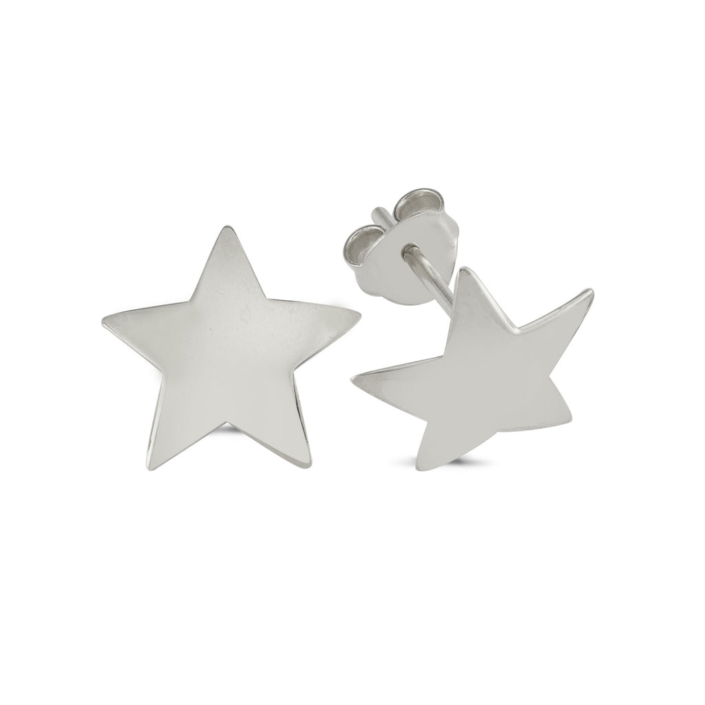 Plain Star Stud Earring  925 Crt Sterling Silver Wholesale Fashionable Turkish Jewelry
