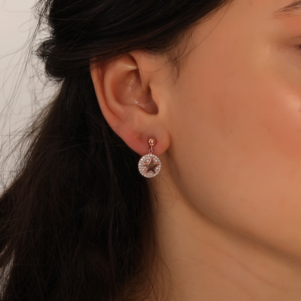 Zirconia Round Star Trendy Earring Wholesale 925 Sterling Silver    Turkish Jewelry