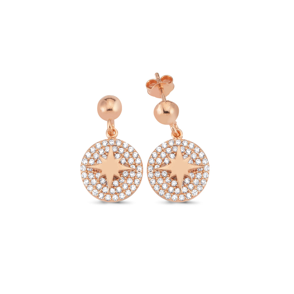 Zirconia Coin Northstar Trendy Earring Wholesale 925 Sterling Silver Fashionable Turkish Jewelry