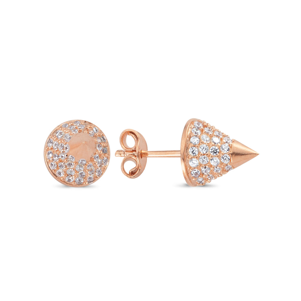 925 Sterling Silver Zirconia Cone Stud Trendy Earring Wholesale Fashionable Turkish Jewelry