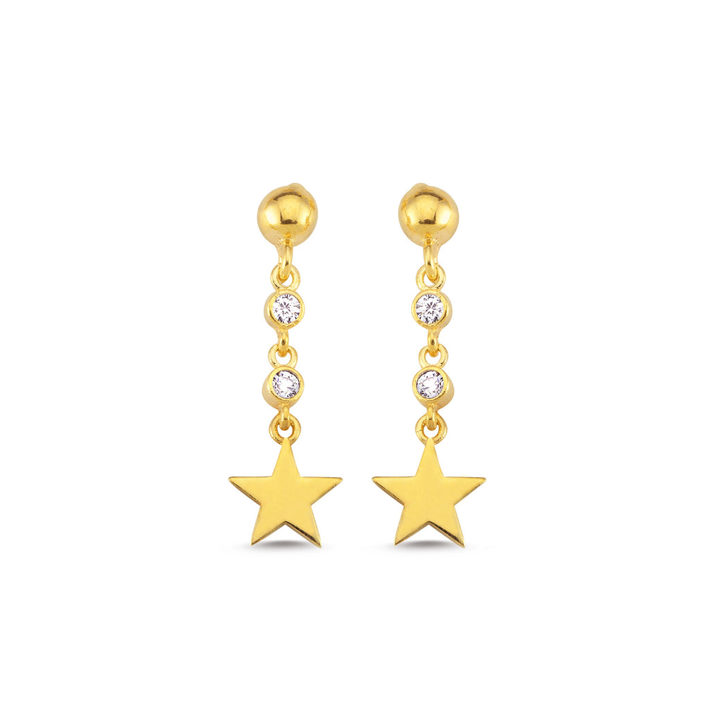 Two Stone Star Trendy Earring Wholesale 925 Sterling Silver   Turkish Jewelry