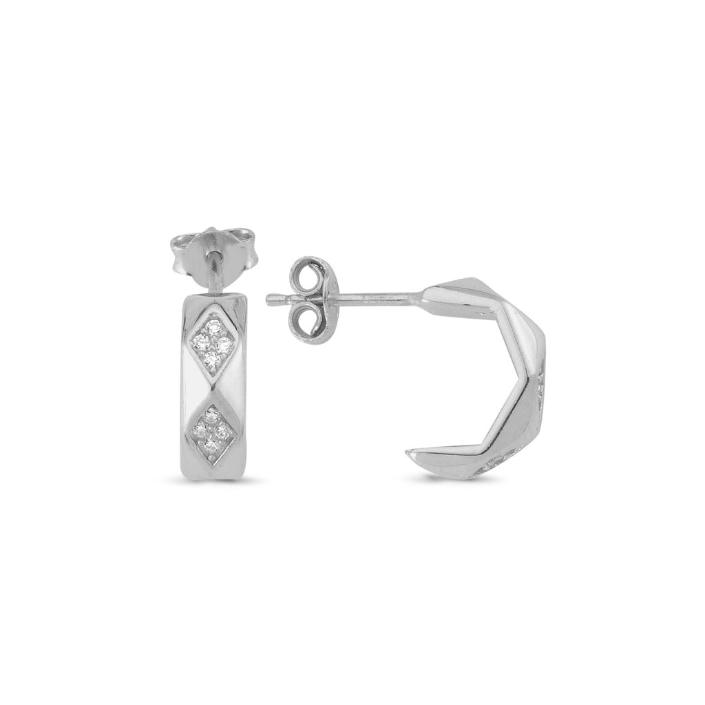 Zironia Diomand Shape Hoop Earring Wholesale 925 Sterling Silver  Turkish Jewelry