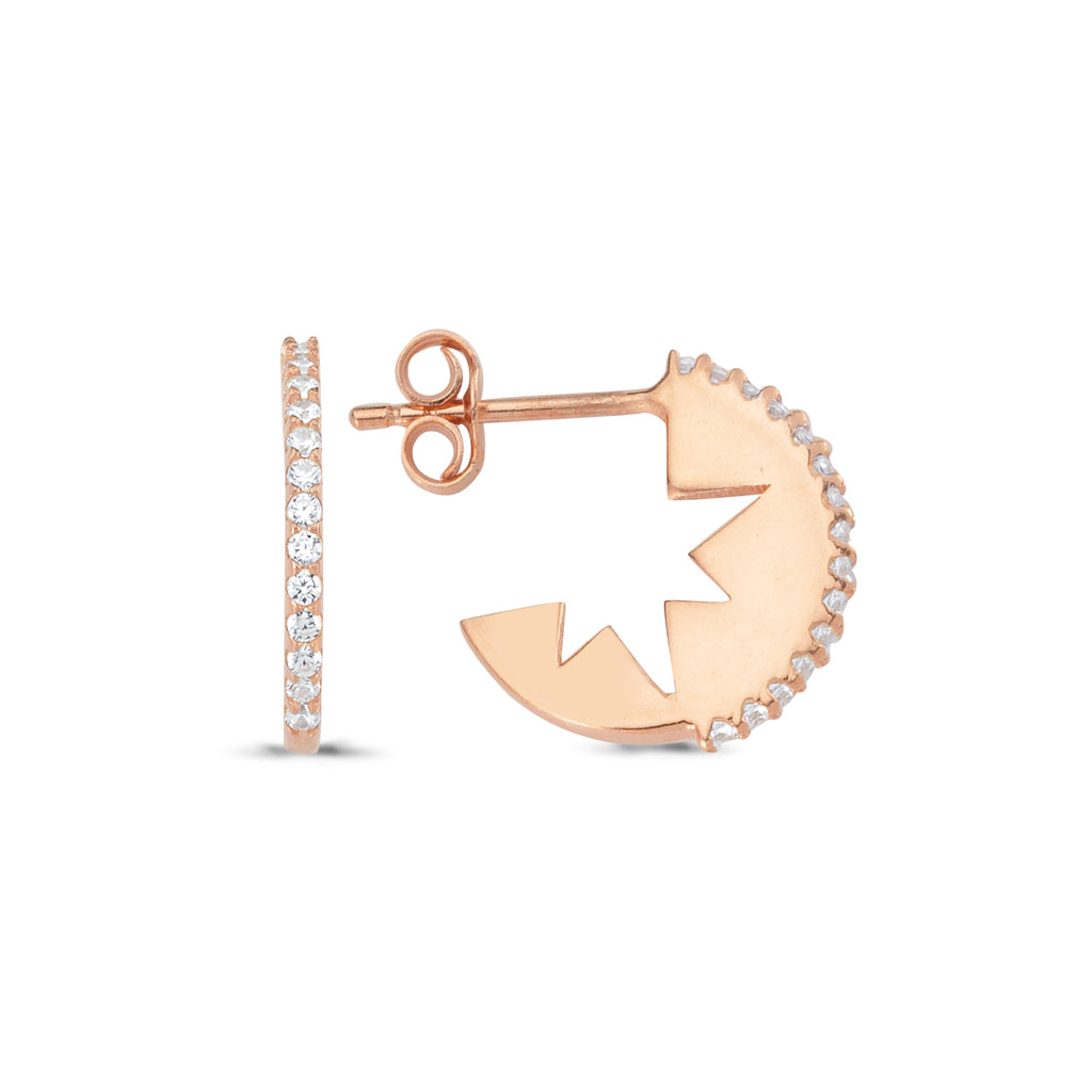 Zirconia Star Cut Stud Earring 925 Sterling Silver    Wholesale Fashionable Turkish Jewelry