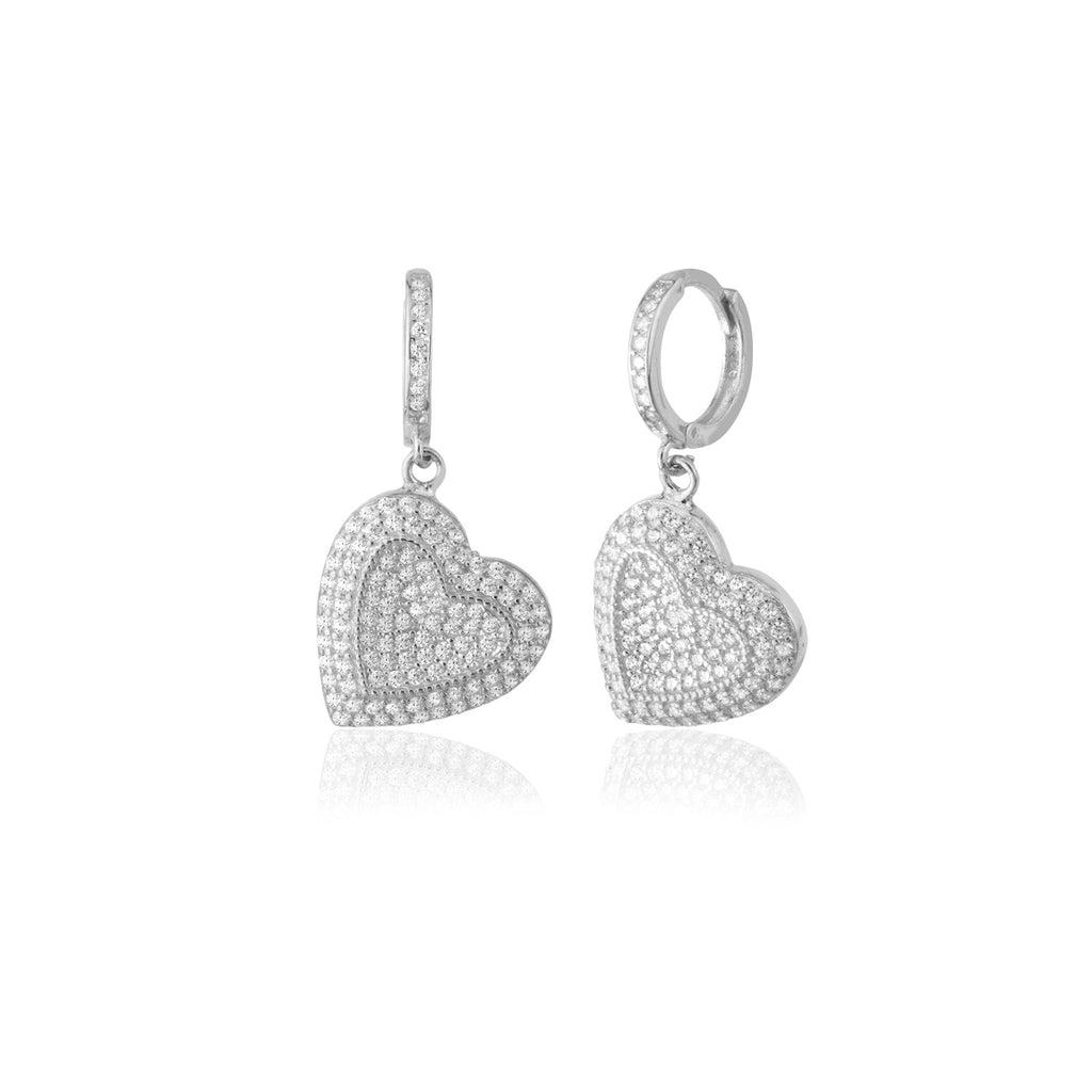 925 Sterling Silver Zirconia Heart Pendant New Trends Earring Wholesale Turkish Jewelry