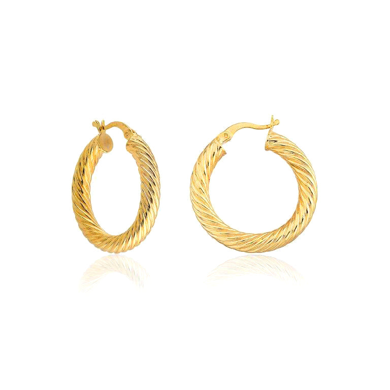 3 Cm Twisted Donut Hoop Gold Plated 925 Sterling Silver Earring Wholesale Turkish Jewelry