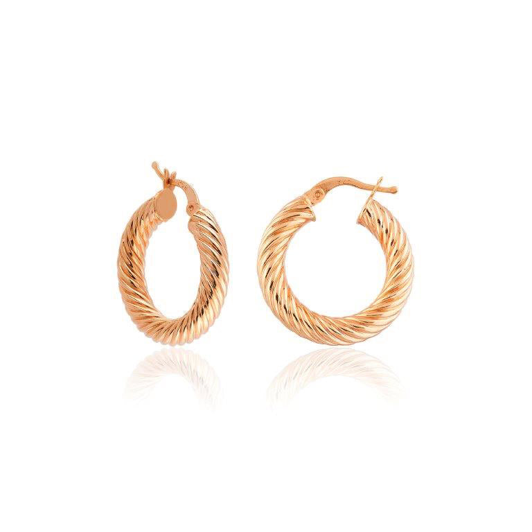 2,5 Cm Twisted Donut Hoop Gold Plated 925 Sterling Silver Earring Wholesale Turkish Jewelry