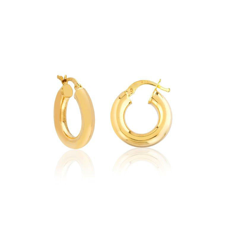 2 Cm Mini Donut Hoop Gold Plated 925 Sterling Silver Earring Wholesale Turkish Jewelry