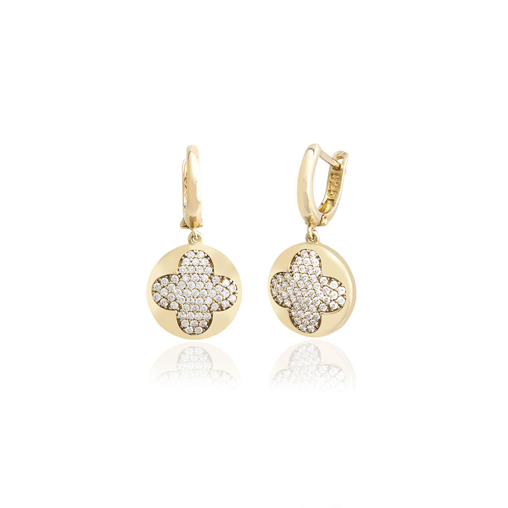 New Trend Zirconium 3D Clover Dangle Earring Wholesale 925 Sterling Silver Fashionable Turkish Jewelry