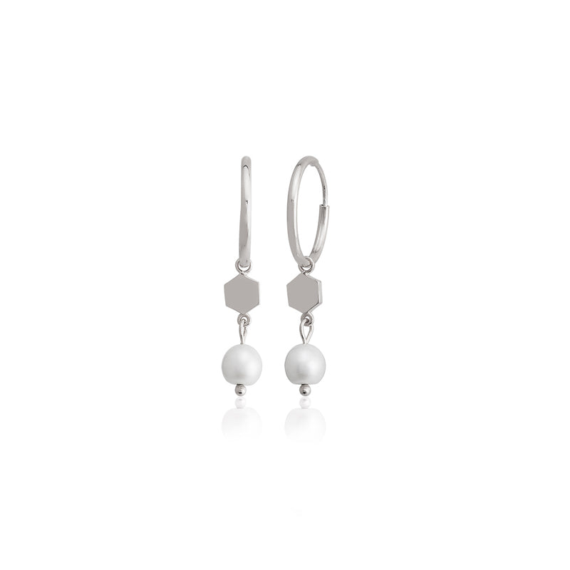 925 Sterling Silver Best Quality Hexagon and Pearl Fashionable  Dangle Earring Wholesale Turkish Jewelry