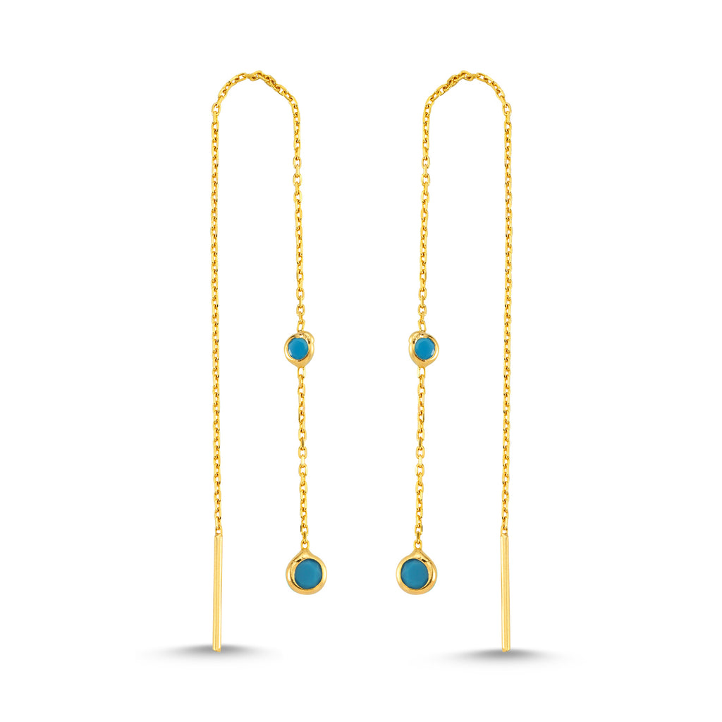 New Trend Double Turquoise Hanging Chain Earring 925 Sterling Silver Wholesale Fashionable Turkish Jewelry