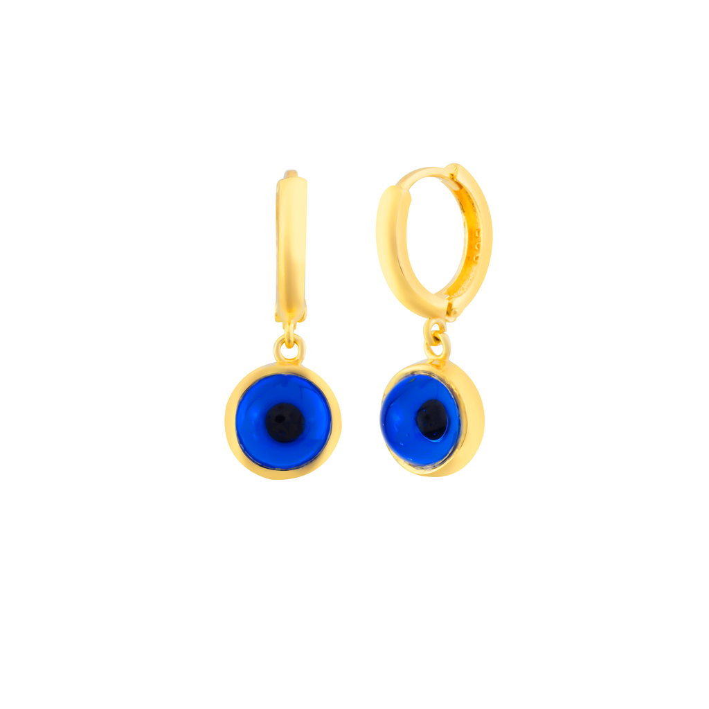 Blue Hanging Evileye Hoop Gold Plated 925 Sterling Silver Earring Wholesale Turkish Jewelry