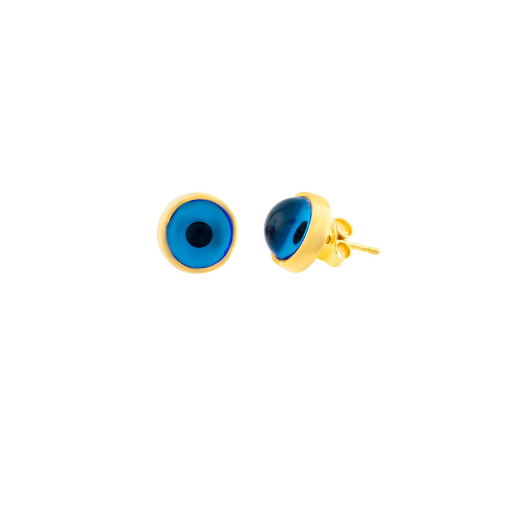 Blue Evileye Stud Gold Plated 925 Sterling Silver Earring Wholesale Turkish Jewelry