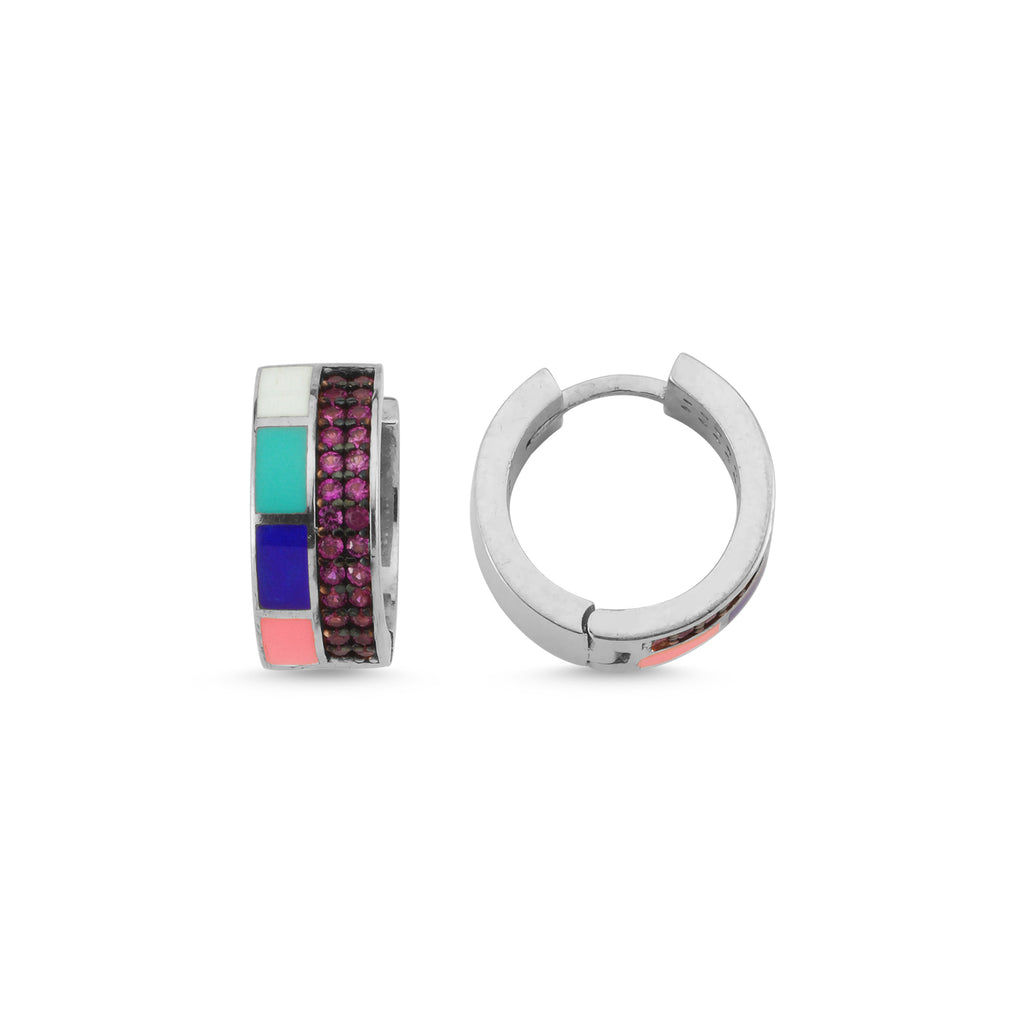 New Trend Colorful Enamel Pink Zirconium Mini Hoop Earring 925 Sterling Silver Wholesale Fashionable Turkish Jewelry