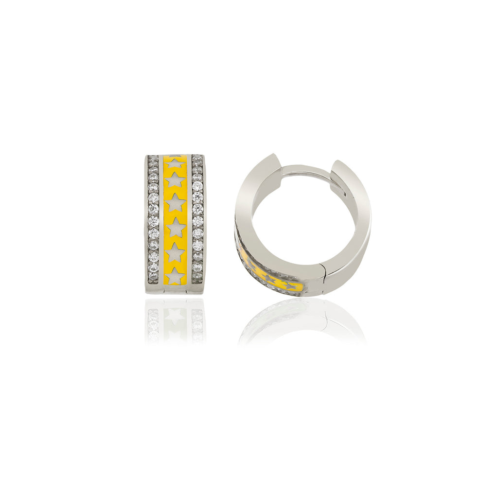 925 Crt Sterling Silver Best Price Best Quality Yellow Enamel Star Mini Hoop Gold Plated Fashionable Earring Wholesale Turkish Jewelry