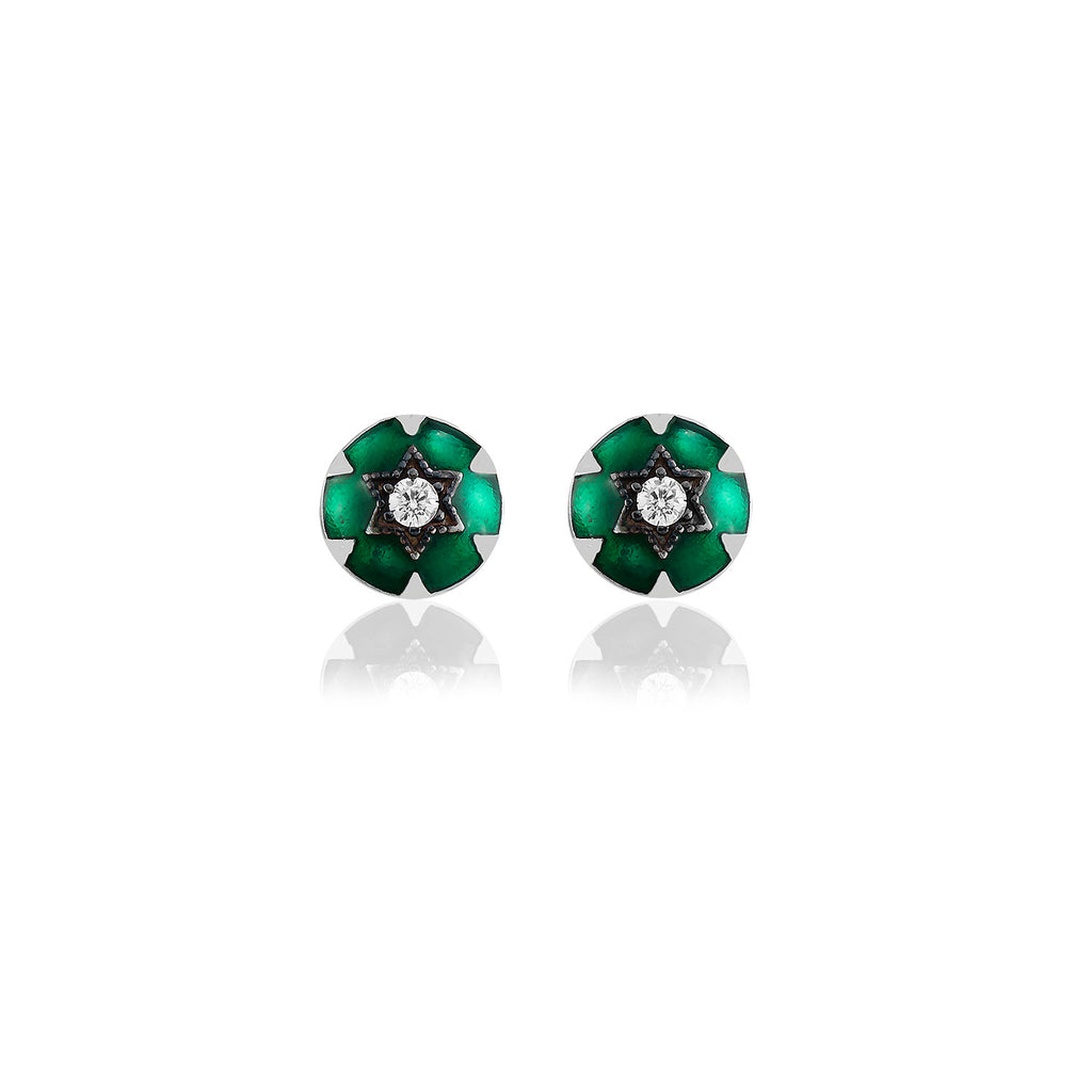 925 Crt Sterling Silver Best Price Best Quality Green Enamel Round Gold Plated Fashionable Stud Earring Wholesale Turkish Jewelry