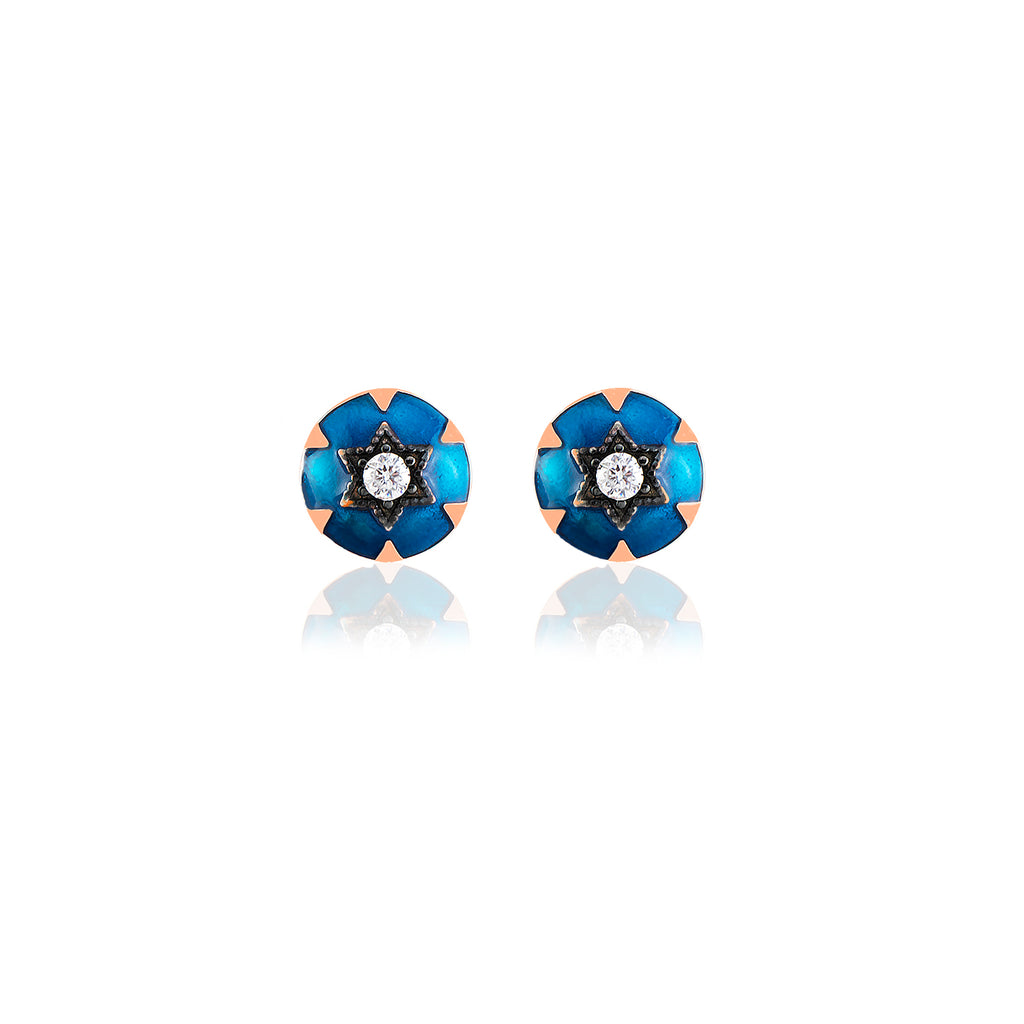 925 Crt Sterling Silver Best Price Best Quality Blue Enamel Round Gold Plated Fashionable Stud Earring Wholesale Turkish Jewelry