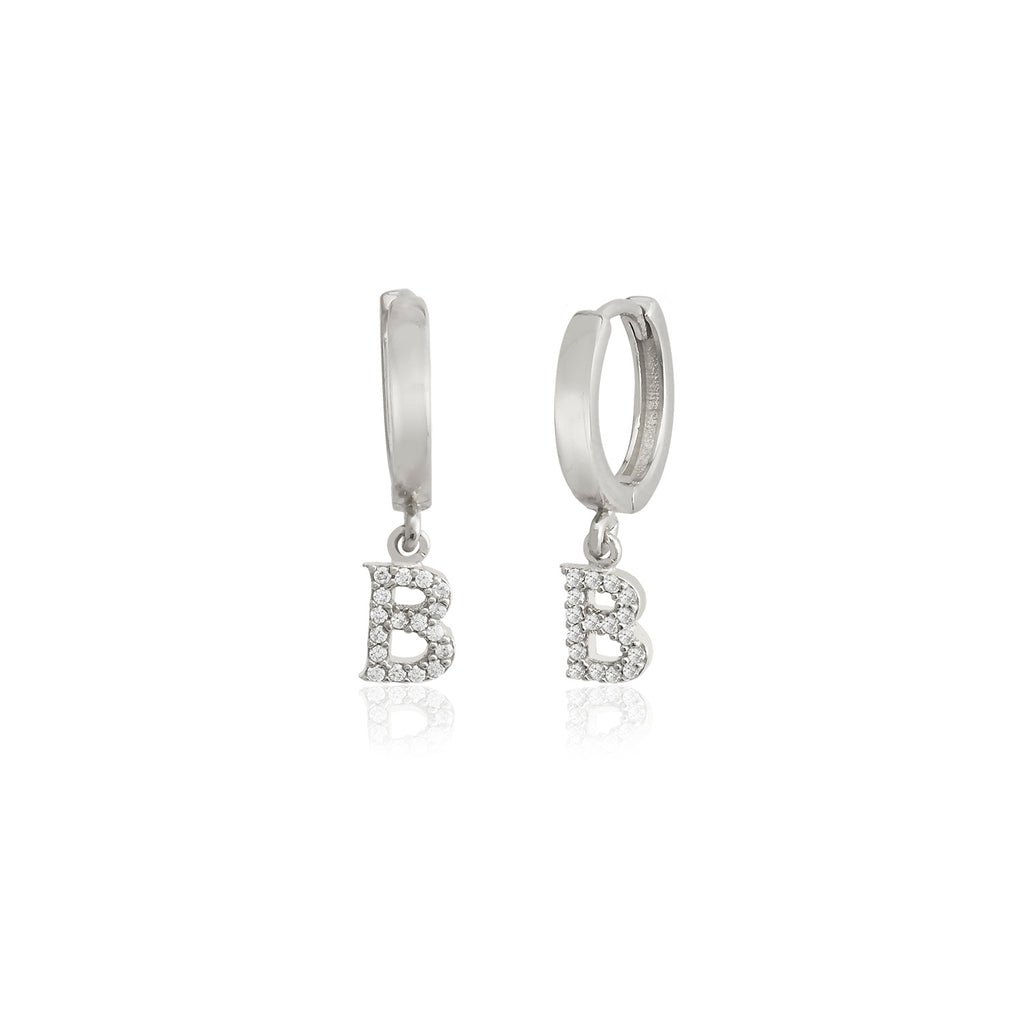 925 Sterling Silver Best Quality B Letter New Trends Fashionable Initial Zirconium Earring Wholesale Turkish Jewelry