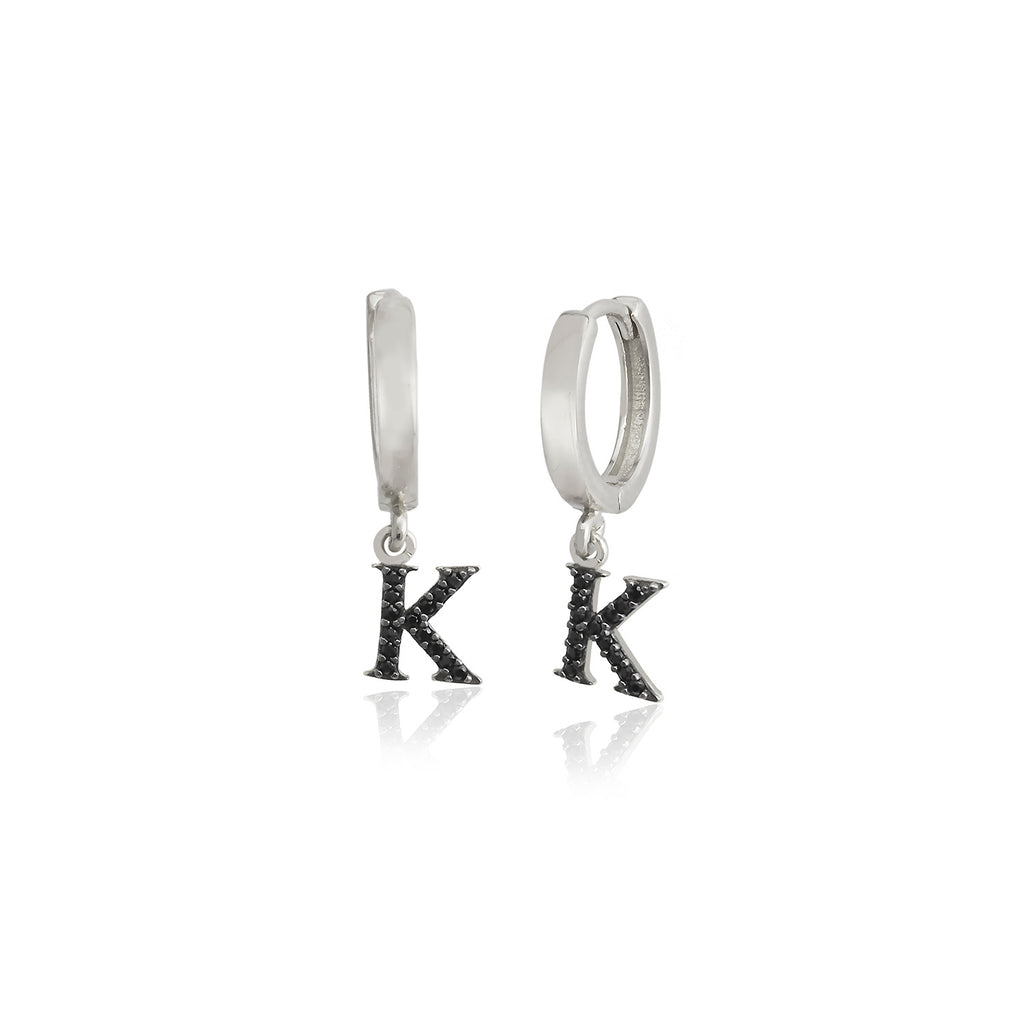 925 Sterling Silver Best Quality Black Zirconium K Letter New Trends Fashionable Initial Earring Wholesale Turkish Jewelry