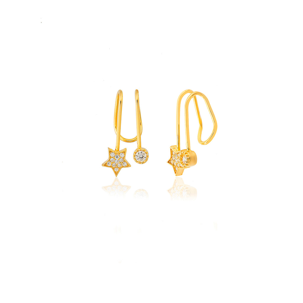 Adjustable Zirconia Star One Stone Gold Plated Earcuff Wholesale 925 Crt Sterling Silver Turkish Jewelry