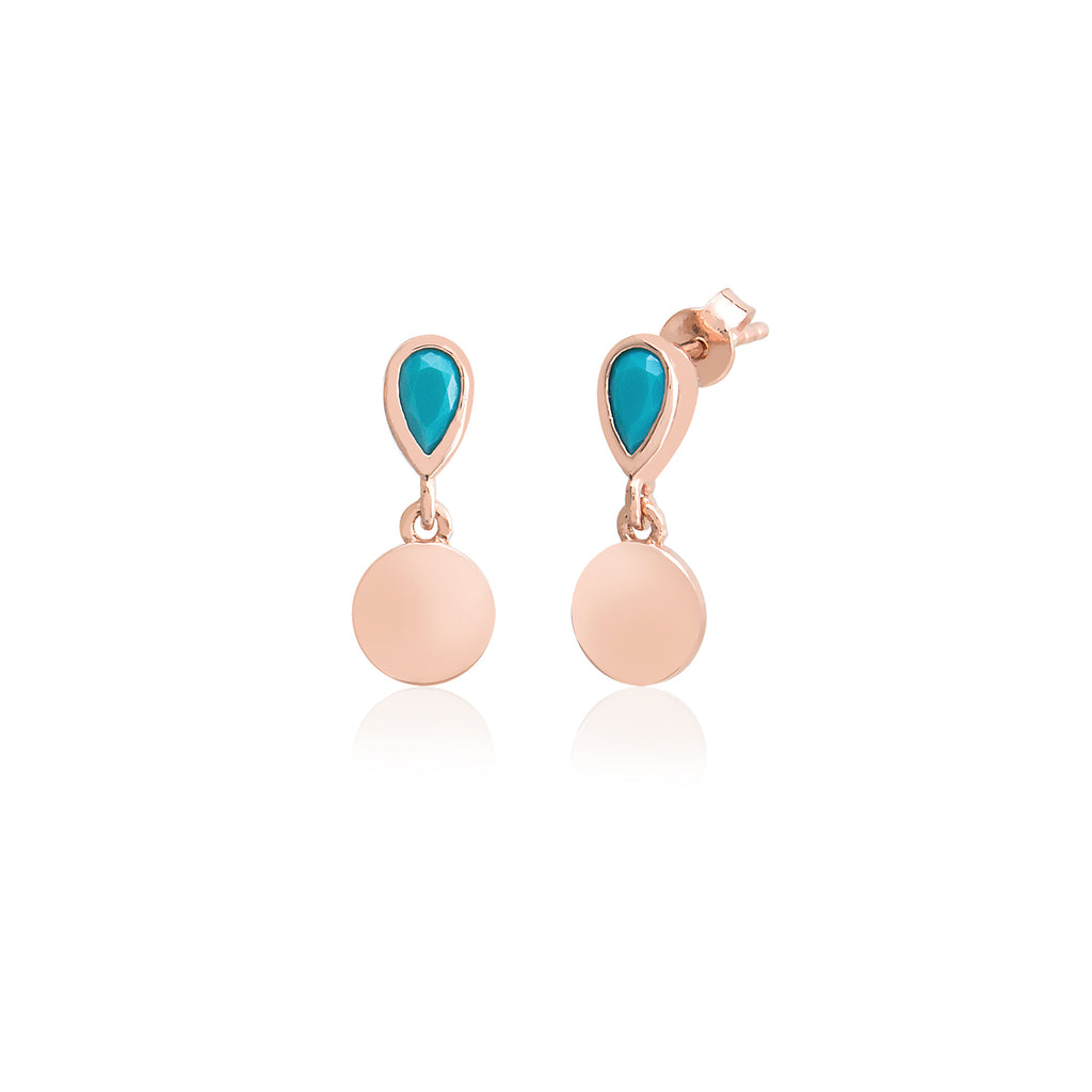 927 Sterling Silver Best Quality Turquoise Drop Mini Coin New Trends Enamel Earring Wholesale Turkish Jewelry