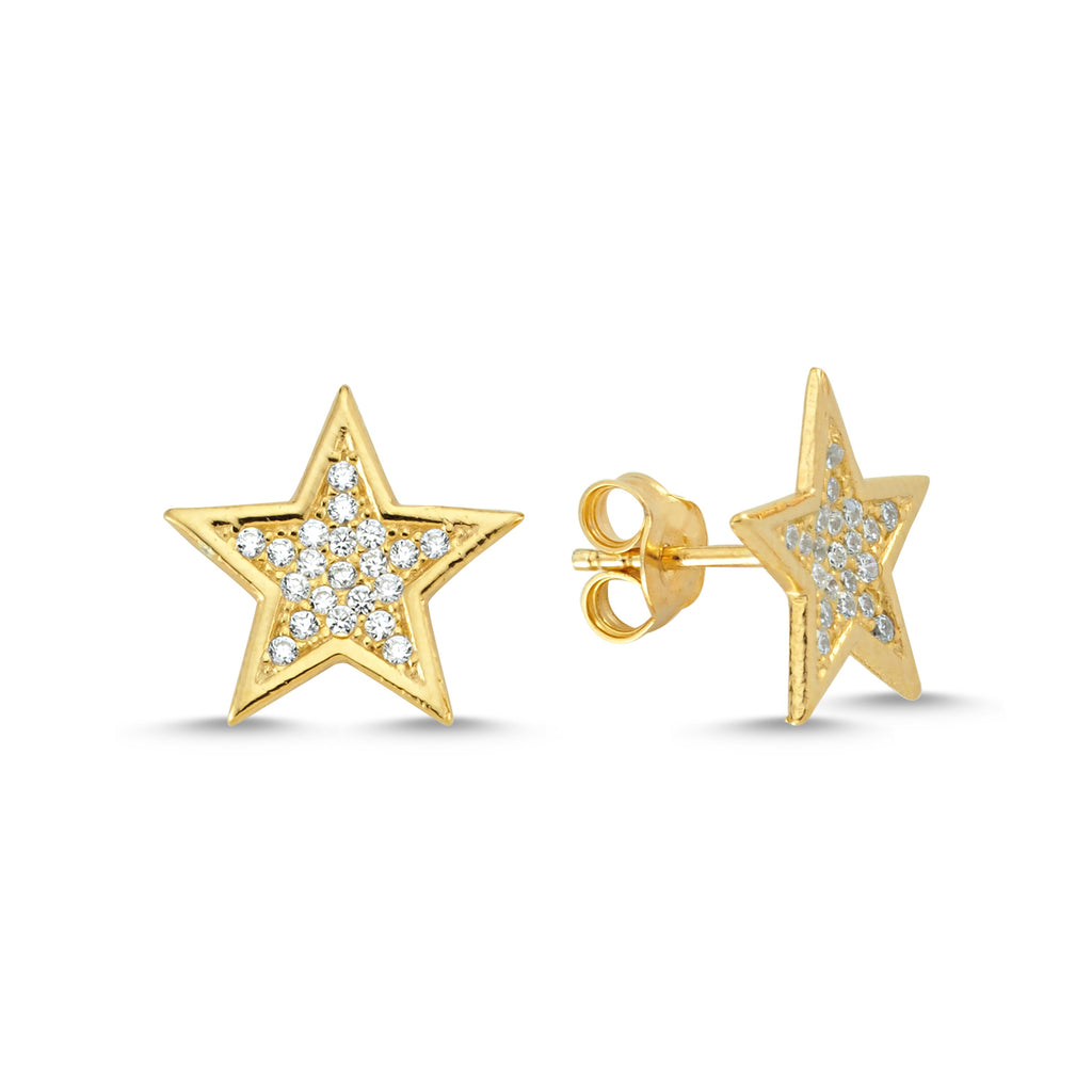 New Trend Zirconium Star Stud Earring  925 Sterling Silver  Wholesale Fashionable Turkish Jewelry