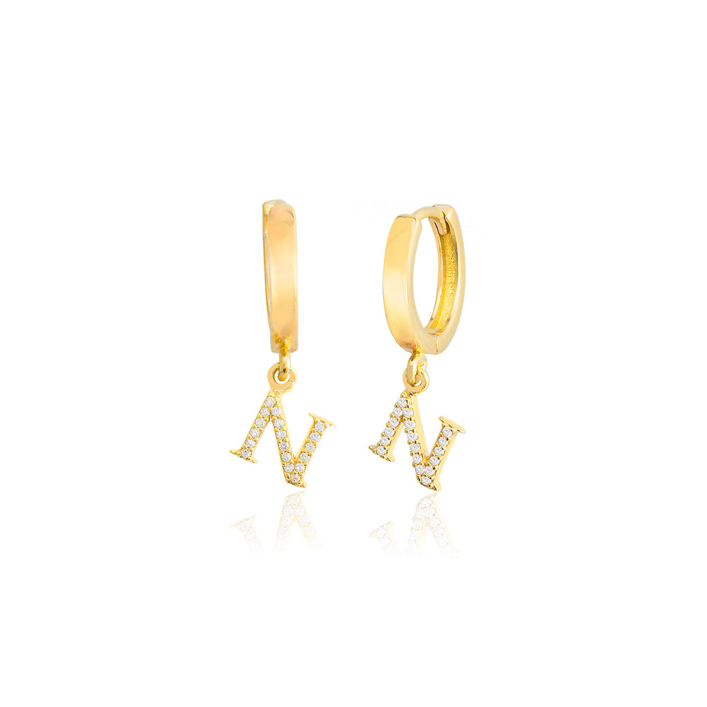 925 Sterling Silver Best Quality N Letter New Trends Fashionable Zirconium Initial Earring Wholesale Turkish Jewelry
