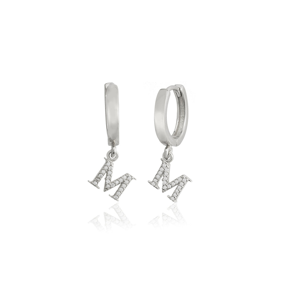 925 Sterling Silver Best Quality M Letter New Trends Fashionable Initial Earring Wholesale Turkish Jewelry