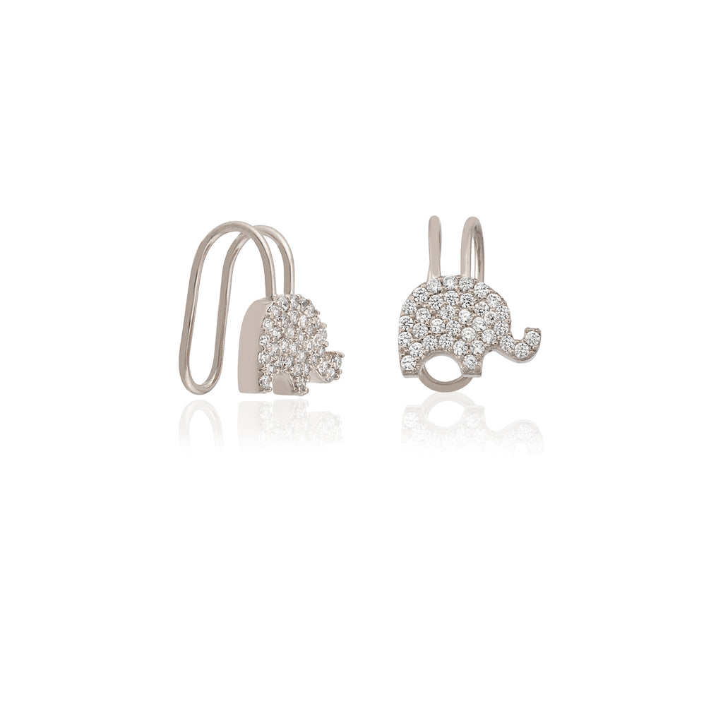 White Zirconium Elephant Adjustable Gold Plated Earcuff Wholesale 925 Crt Sterling Silver Turkish Jewelry