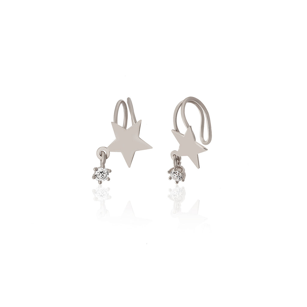 Adjustable Hanging Zirconia Star Gold Plated Earcuff Wholesale 925 Crt Sterling Silver Turkish Jewelry