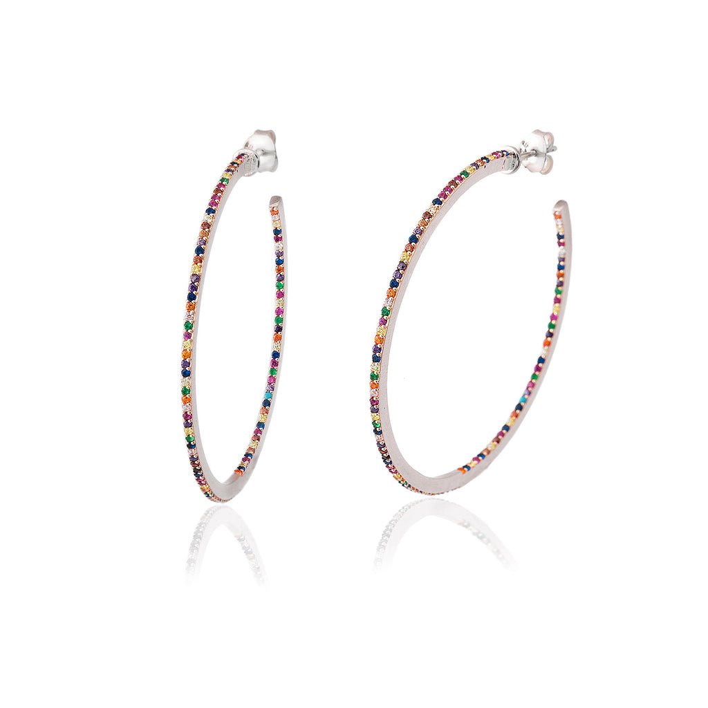 925 Sterling Silver Colorful Zirconia Hoop Earring Wholesale Turkish Jewelry