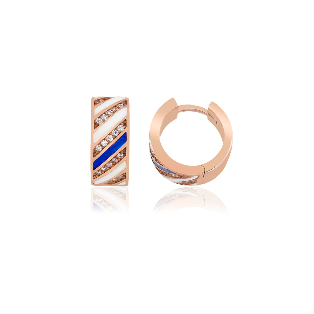 925 Crt Sterling Silver Best Price Best Quality Blue Enamel Mini Hoop Gold Plated Fashionable Earring Wholesale Turkish Jewelry