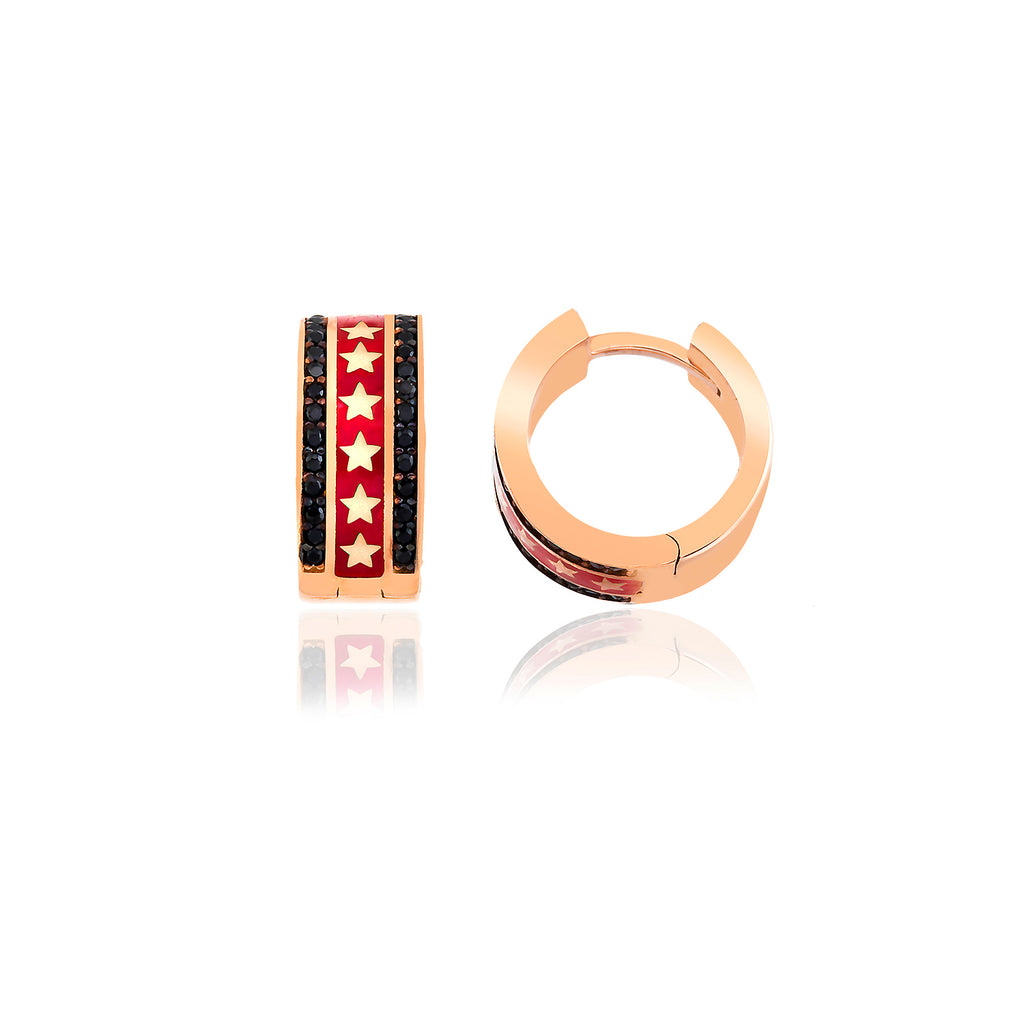 925 Crt Sterling Silver Best Price Best Quality Red Enamel Mini Hoop Gold Plated Fashionable Earring Wholesale Turkish Jewelry