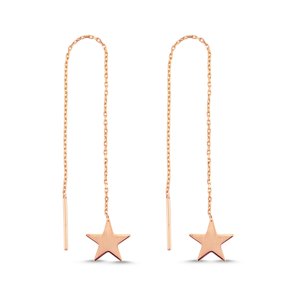 New Trend Star Hanging Chain Earring 925 Sterling Silver  Wholesale Fashionable Turkish Jewelry