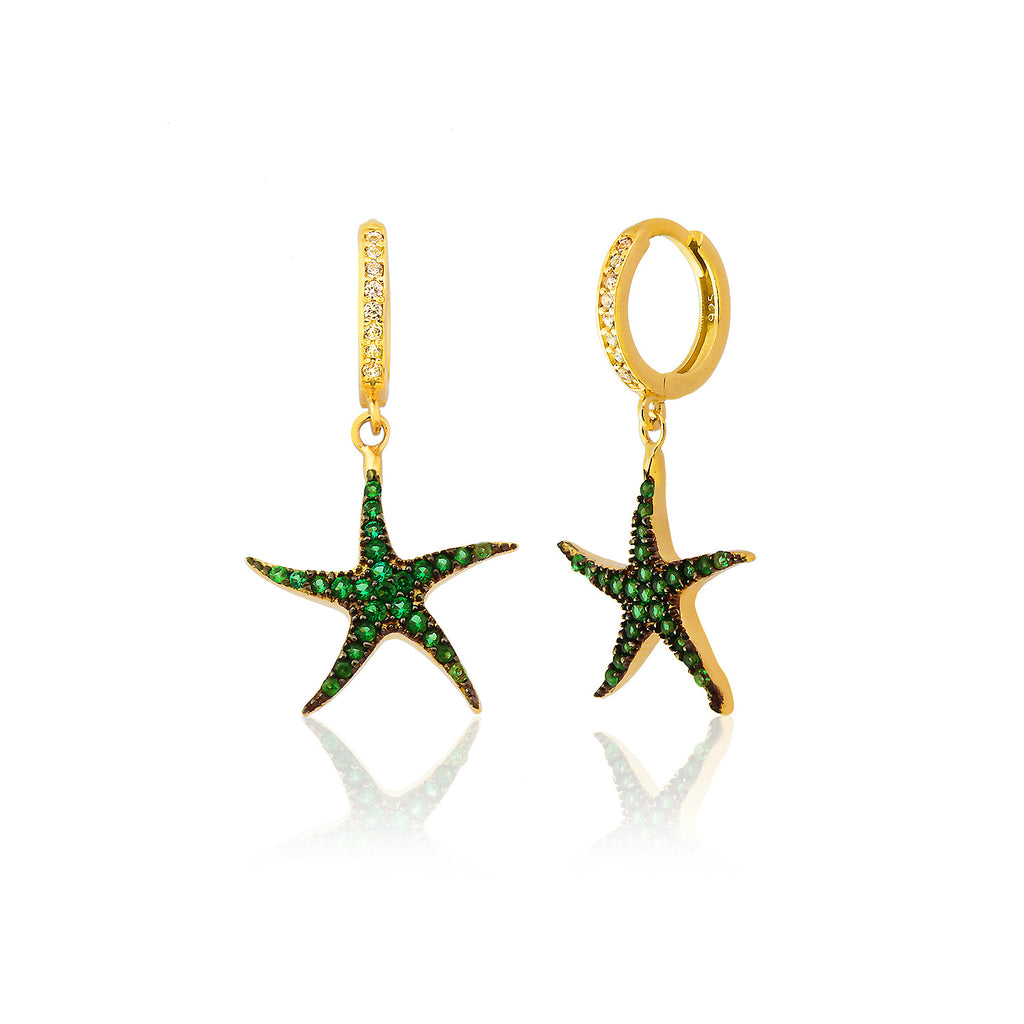 925 Sterling Silver Green Zirconia Starfish Earring Wholesale Turkish Jewelry