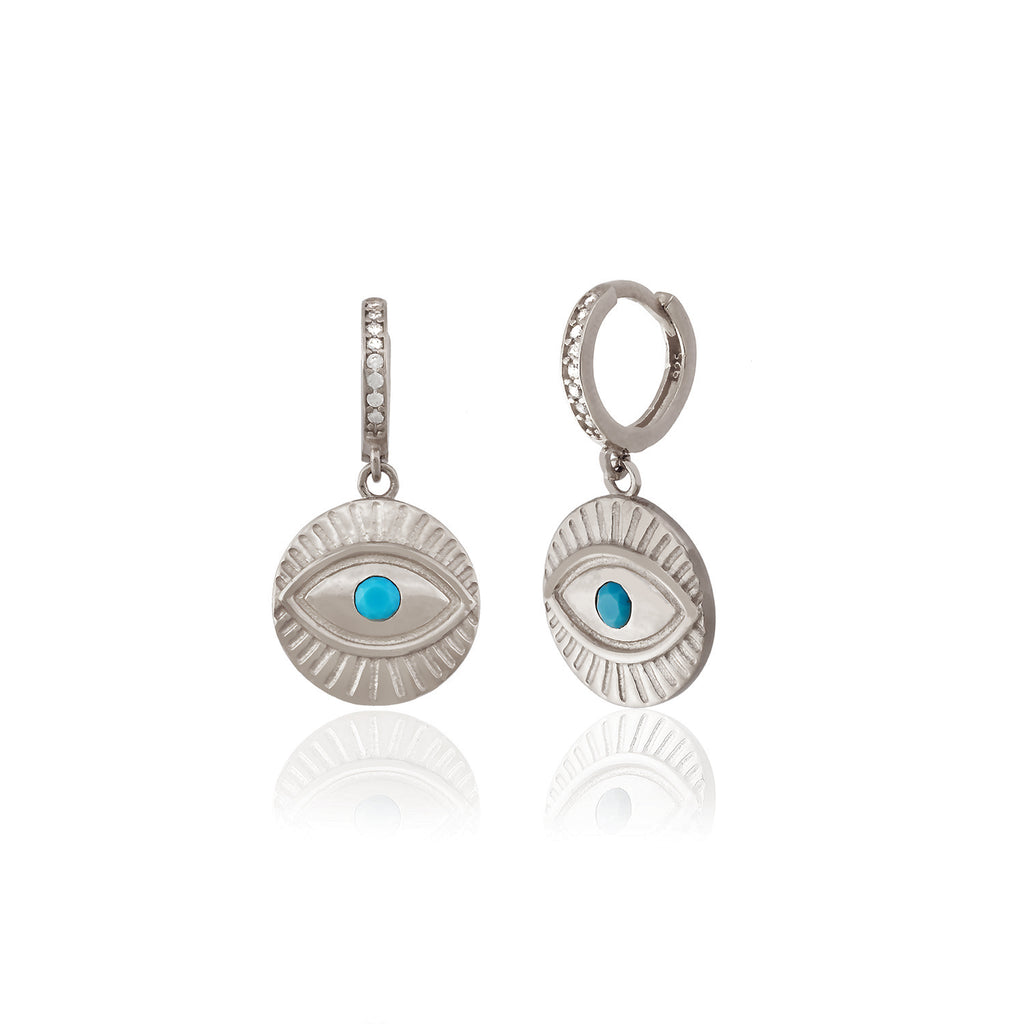 925 Sterling Silver Turquoise Eye Earring Wholesale Turkish Jewelry