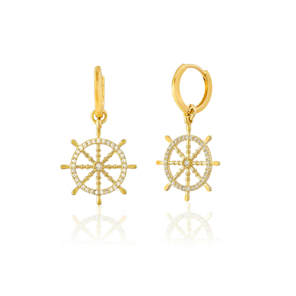 925 Sterling Silver Zirconia Ship Wheel Earring Wholesale Turkish Jewelry