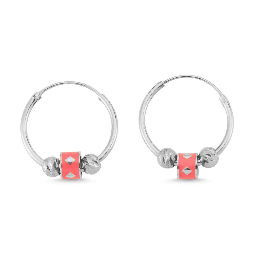 New Trend Neon Pink Mini Balls Hoop Earring 925 Sterling Silver  Wholesale Fashionable Turkish Jewelry