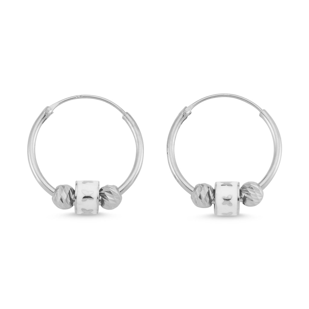 New Trend Mini Balls Enamel Butterfly Hoop Earring 925 Sterling Silver   Wholesale Fashionable Turkish Jewelry