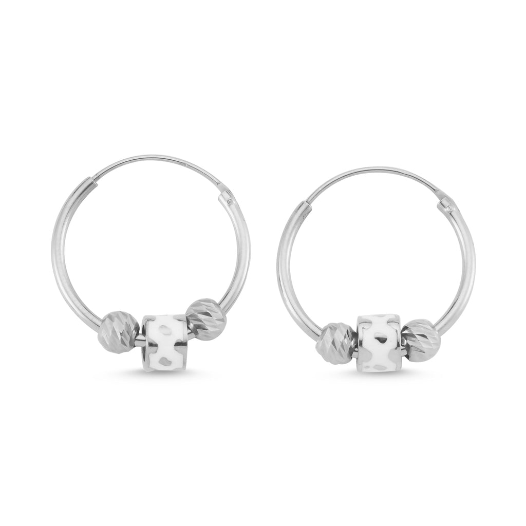 New Trend Mini Balls Enamel Wheel Hoop Earring 925 Sterling Silver  Wholesale Fashionable Turkish Jewelry