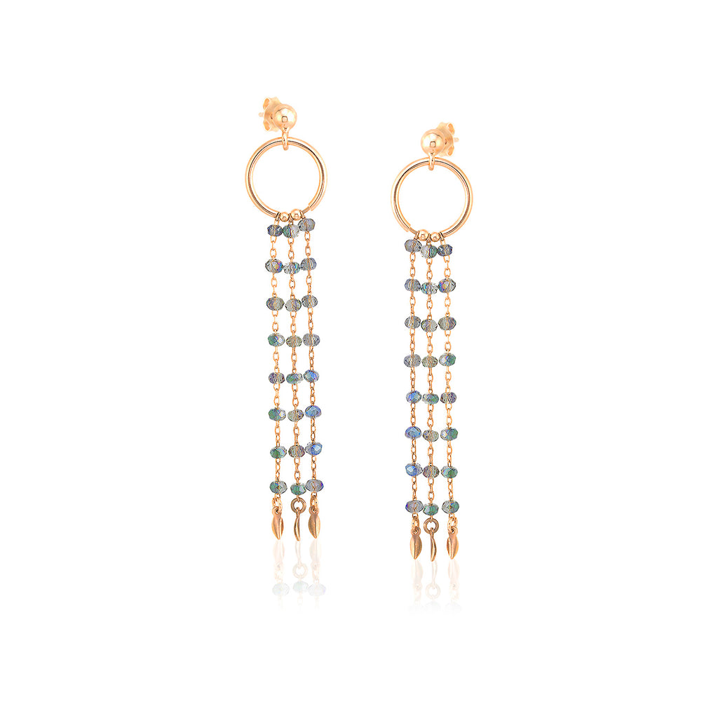 925 Sterling Silver 18K Gold Plating Best Quality Custom Design Fashionable Gray Bead Chandelier Wholesale Turkish Jewelry Earring