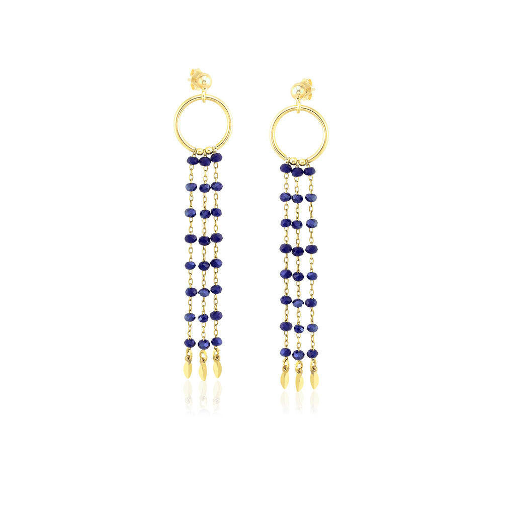 18K Gold Plating Best Quality Custom Design Fashionable Dark Blue Bead Chandelier 925 Sterling Silver Wholesale  Turkish Jewelry Earring