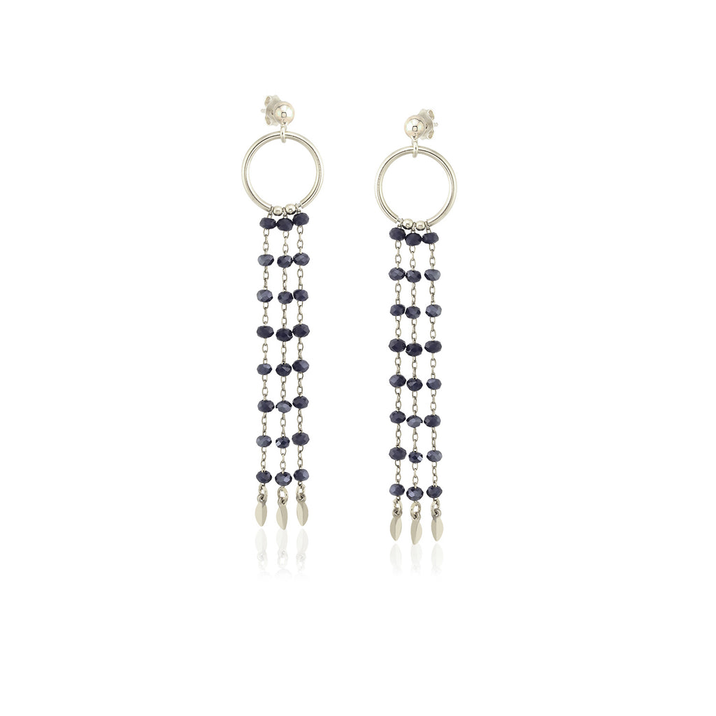925 Sterling Silver 18K Gold Plating Best Quality Custom Design Fashionable Dark Blue Bead Chandelier Wholesale Turkish Jewelry Earring